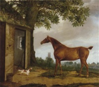 chestnut hunter and spaniel before a stable, a church beyond by g. b. newmarch