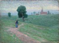 paysage à la promeneuse et à l'église by evgeniy ivanovich pospolitaki
