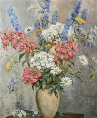 still life of mixed summer flowers by kathleen lloyd