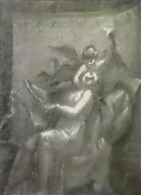une jeune fille jouant de la lyre interrompue par un amour by louis-charles-auguste couder