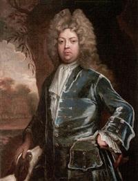 portrait of a gentleman wearing a blue coat with a hound by john kerseboom