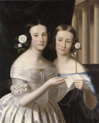 double portrait of two sisters, standing half-length,    holding a letter by huber