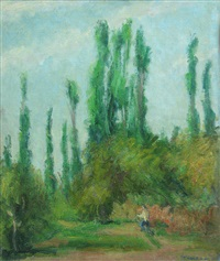landscape with poplars by hrandt avachian