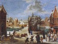 place de village en hiver animée de nombreux personnages by jacques fouquieres
