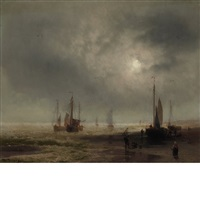 seascape with boats and figures on a beach by hermann herzog