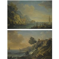 a mediterranean coastal landscape with fishermen mending their nets (+ a mediterranean coastal landscape with fishermen resting on rocks beside a river mouth as dusk approaches; pair) by carlo bonavia