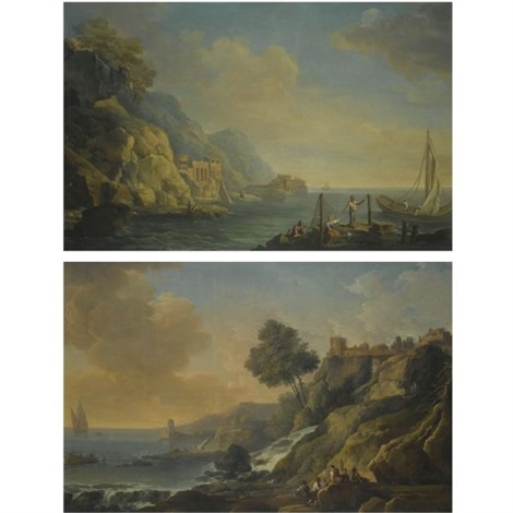 a mediterranean coastal landscape with fishermen mending their nets a mediterranean coastal landscape with fishermen resting on rocks beside a river mouth as dusk approaches pair by carlo bonavia