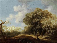 a wooded landscape with a stag hunt by jacobus van der hagen