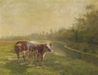 cows in a pasture by a canal by léon barillot