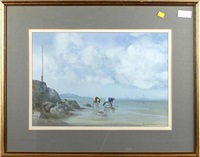 figures on a beach by edward emerson