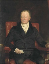 portrait of sir charles morgan (1760-1846), seated three-quarter-length, in a black suit, holding a letter in his right hand by henry william pickersgill