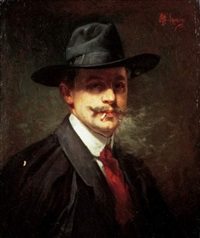 portrait d'homme a la cigarette by albert f.a. laurens