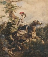 amazone à la chasse by louis david
