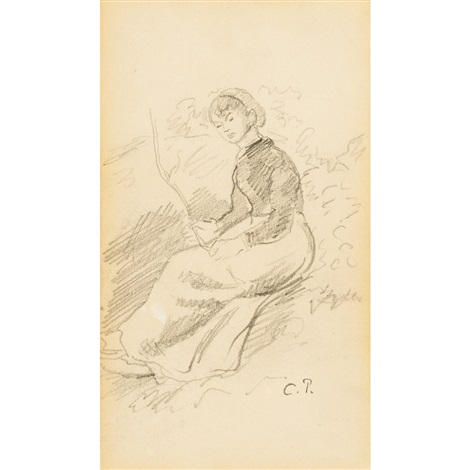 femme assise by camille pissarro