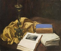 still life with candlestick by léonid frechkop