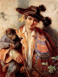 a spanish travelling muscian and his monkey by violet (duchess of rutland) manners