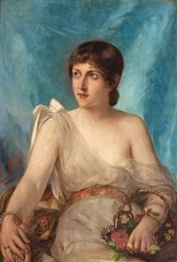 femme aux fleurs by léon herbo