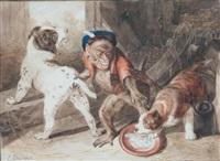 chiens et singe by sir edwin henry landseer
