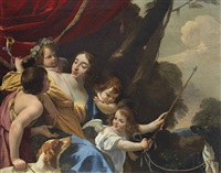 allegorical portrait of marguerite de beauclerc, baroness d'archères and de rougemont, marquise d'estiau by simon vouet