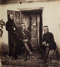 major gen. sir r. dacrest & staff (captain humley and colonel adye) by roger fenton