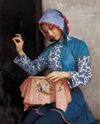 织绣女 (embroidering girl) by jiang changyi