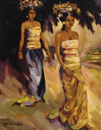 two women in traditional dress by joseph rené gockinga
