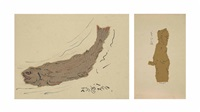 untitled (fish); poet (2 works) by nandalal bose