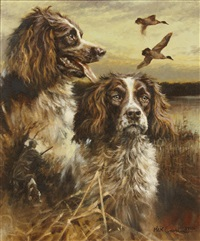 two springer spaniels in a marsh by mick cawston