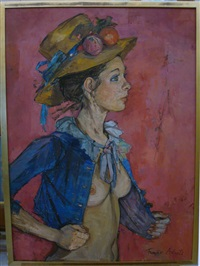 jeune fille au chapeau fleuri by françoise adnet