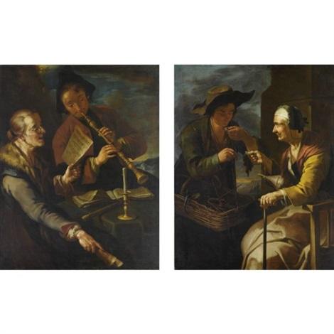la lezione di musica il venditore ambulante pair by giacomo francesco cipper