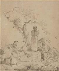 la fontaine antique by hubert robert