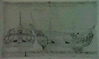 coupe et profil de la fregate la malicieuse by le roux