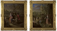 a vegetable seller and his son offering wares to a lady and a cleric by a statue of bacchus (+ a vegetable and fruit market by a statue of venus, with a town by a river beyond; pair) by josef van aken