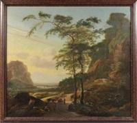paysage de campagne aux abords d'un fleuve avec des villageois et un pâtre en chemin by jan gabrielsz sonje