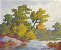 autumn glory, smoky river, kansas by birger sandzen