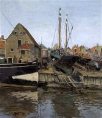shipyard in the dutch port by wilhelm bartsch