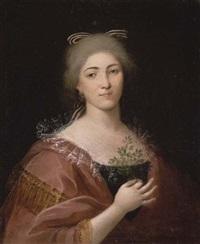 portrait d'une jeune femme tenant un feuillage by alessandro d' anna
