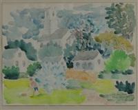 mountain farm scene by alice stanley acheson