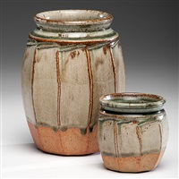 pair of faceted vases by richard batterham