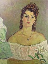 portrait with idol by vasile varga