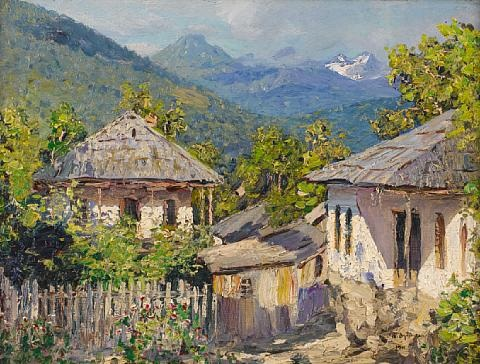 village scene in the mountains by nikolai nikanorovich dubovskoy