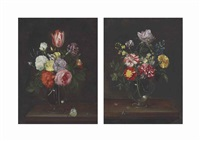 roses, carnations, a tulip, and other flowers in a glass vase; roses, carnations, and other flowers in a glass vase (pair) by frans ykens
