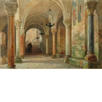 monk in an abbey, verona by william harding smith