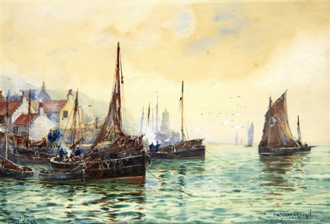 morning calm coast of fife by frederick william scarborough