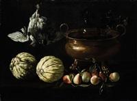 natura morta di frutta con rinfrescatoio by pier paolo (g.b. carracci) bonzi