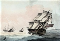 a royal navy frigate heeling in the breeze by samuel atkins