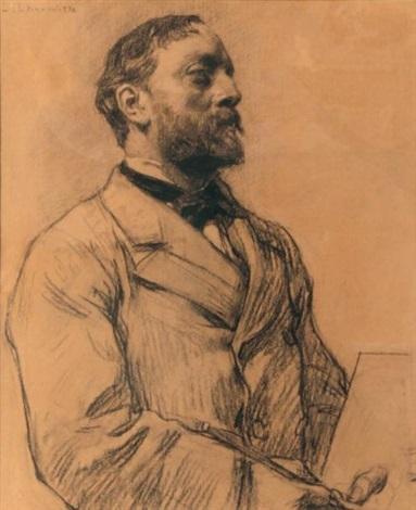 portrait de jean charles cazin by léon augustin lhermitte