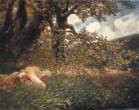 a lady resting below a peach tree by jacobus leisten