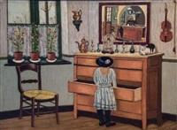 jeune fille au chapeau by louis thevenet
