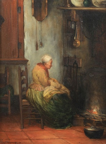 Interior genre painting with elderly woman knitting by the fire by